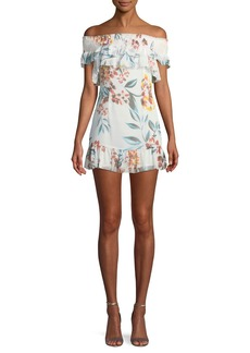 Tularosa Lanzo Off-Shoulder Floral Flounce Short Dress