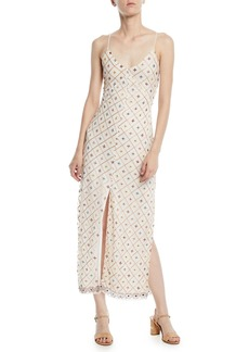 Tularosa Linda Embroidered Sleeveless Slip Midi Dress