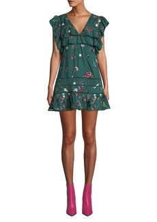 Tularosa Lindsay Embroidered Floral Ruffle Mini Dress