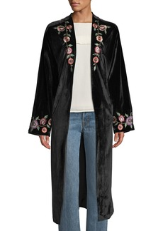 Tularosa Samantha Floral-Embroidered Velvet Overcoat