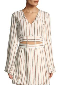 Tularosa Trisha Striped Long-Sleeve Crop Top