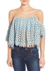 Tularosa 'Amelia' Off the Shoulder Crochet Crop Top