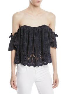 Tularosa Amelia Off-the-Shoulder Crochet Crop Top