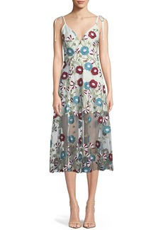 Tularosa Charlotte Floral Applique Sheer Mesh Midi Dress