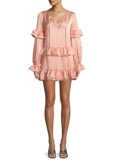 Tularosa Darla Ruffle Dot-Print Mini Dress