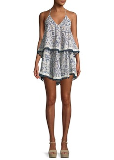 Tularosa Evolette V-Neck Tiered Printed Dress w/ Pompom Trim