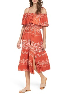 Tularosa Jacqui Floral Print Cold Shoulder Dress