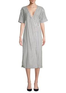 Tularosa Maddy Striped Midi Wrap Dress