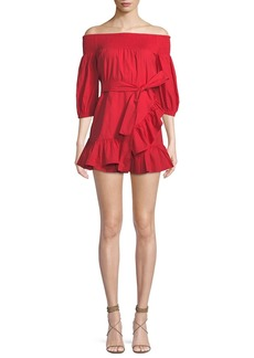 Tularosa Maida Off-the-Shoulder Flounce Mini Dress