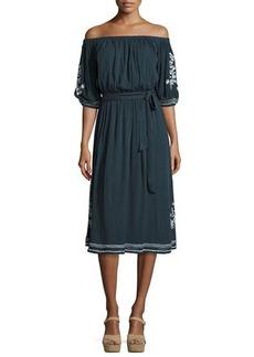 Tularosa Marty Embroidered Midi Dress