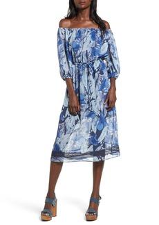 Tularosa Marty Floral Print Off the Shoulder Midi Dress