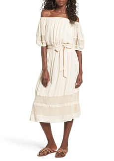 Tularosa Marty Off the Shoulder Midi Dress