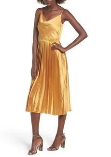 Tularosa Mel Pleated Satin Midi Dress