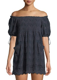 Tularosa Quinn Off-The-Shoulder Embroidered Dress