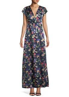 Tularosa Sid Wrap Floral Satin Maxi Dress
