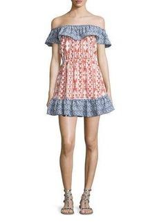 Tularosa Taylor Off-The-Shoulder Mixed-Print Dress