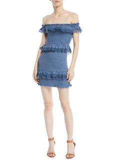 Tularosa Teri Off-the-Shoulder Ruffle Mini Dress