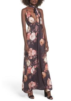 Tularosa Victorian Floral Tie Neck Maxi Dress