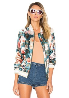 Tularosa x REVOLVE Emma Bomber Jacket in Teal. - size L (also in M,S,XS)