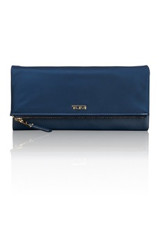 Tumi Flap Continental Leather Trimmed Nylon Wallet