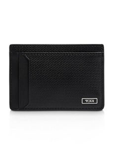 Tumi Monaco Embossed Leather Money Clip Card Case