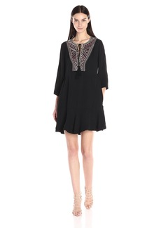 Twelfth Street by Cynthia Vincent Women's Bell Sleeve Embroidered Dress