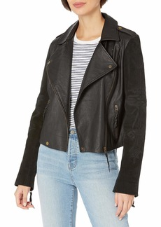 Twelfth Street by Cynthia Vincent Women's Embroidered Suede Moto Jacket