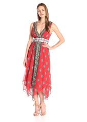 Twelfth Street by Cynthia Vincent Women's Midi Double V-Asymetrical Hem Dress