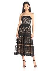 Twelfth Street by Cynthia Vincent Women's Strapless Flounce Midi Dress
