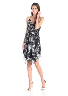 Twelfth Street by Cynthia Vincent Women's Tropical-Print Handkerchief-Hem Dress Black/White Floral