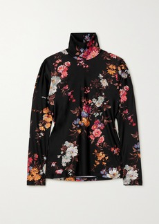 Twin Fantasy Floral-print Stretch Turtleneck Top