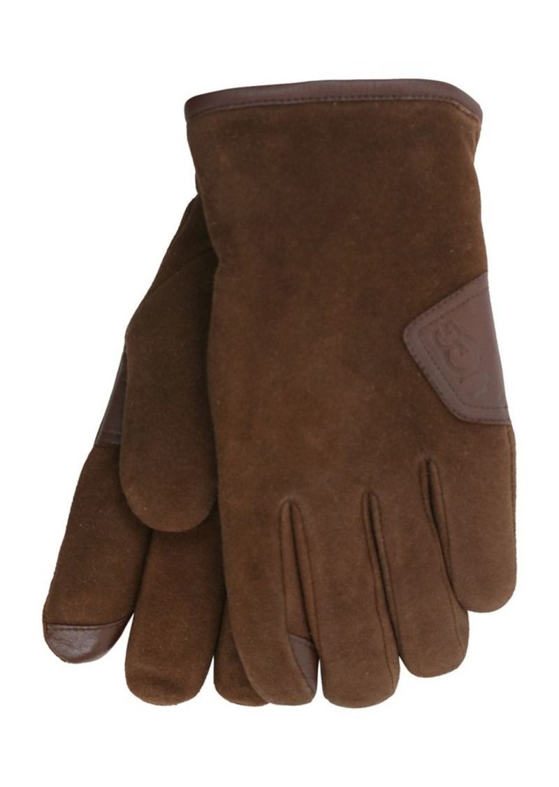 Ugg Men's Smart Suede Faux-Fur Gloves