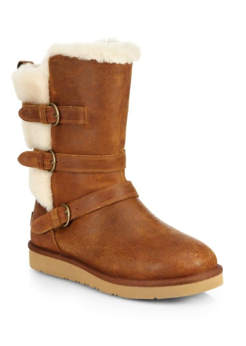 UGG Becket Leather & Faux Shearling Mid-Calf Boots