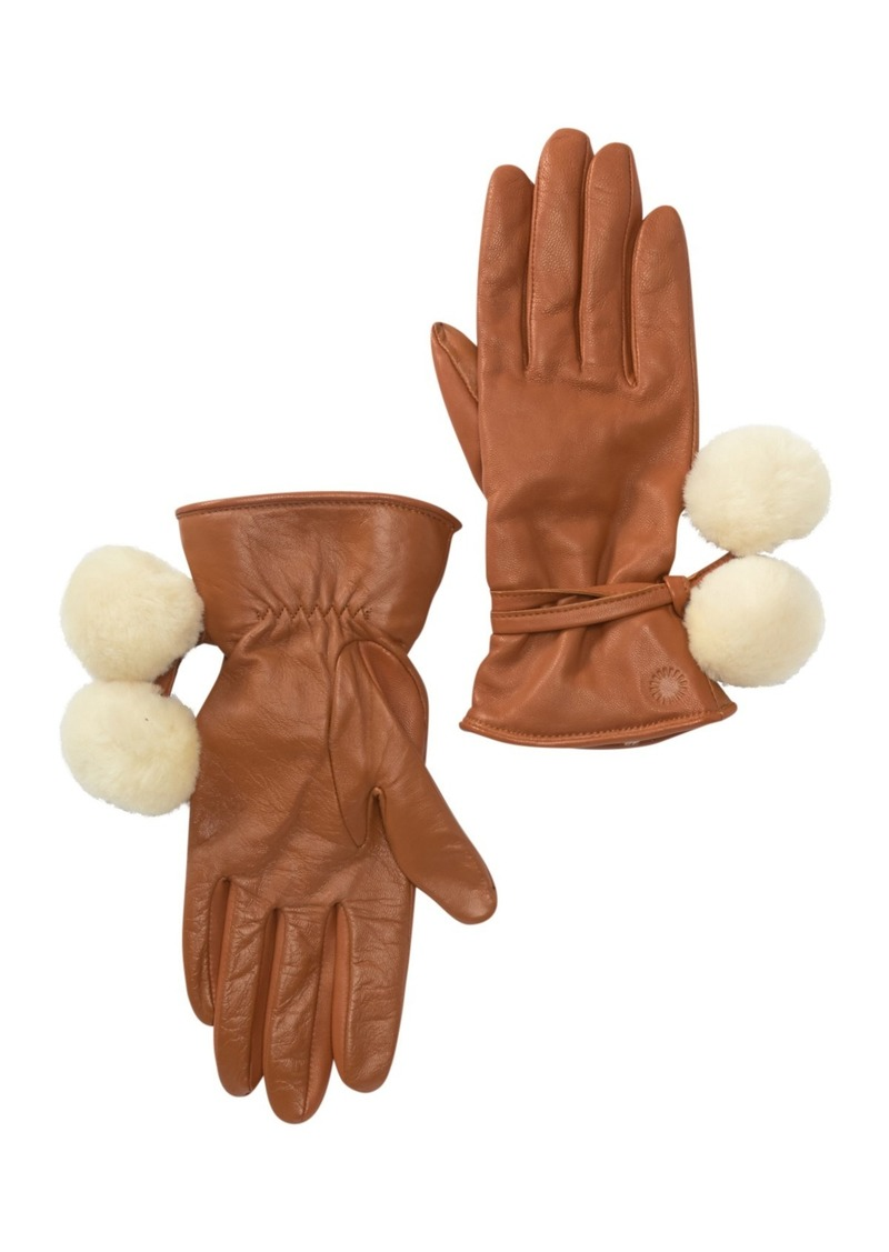 UGG Brita Genuine Shearling Pompoms Smart Gloves