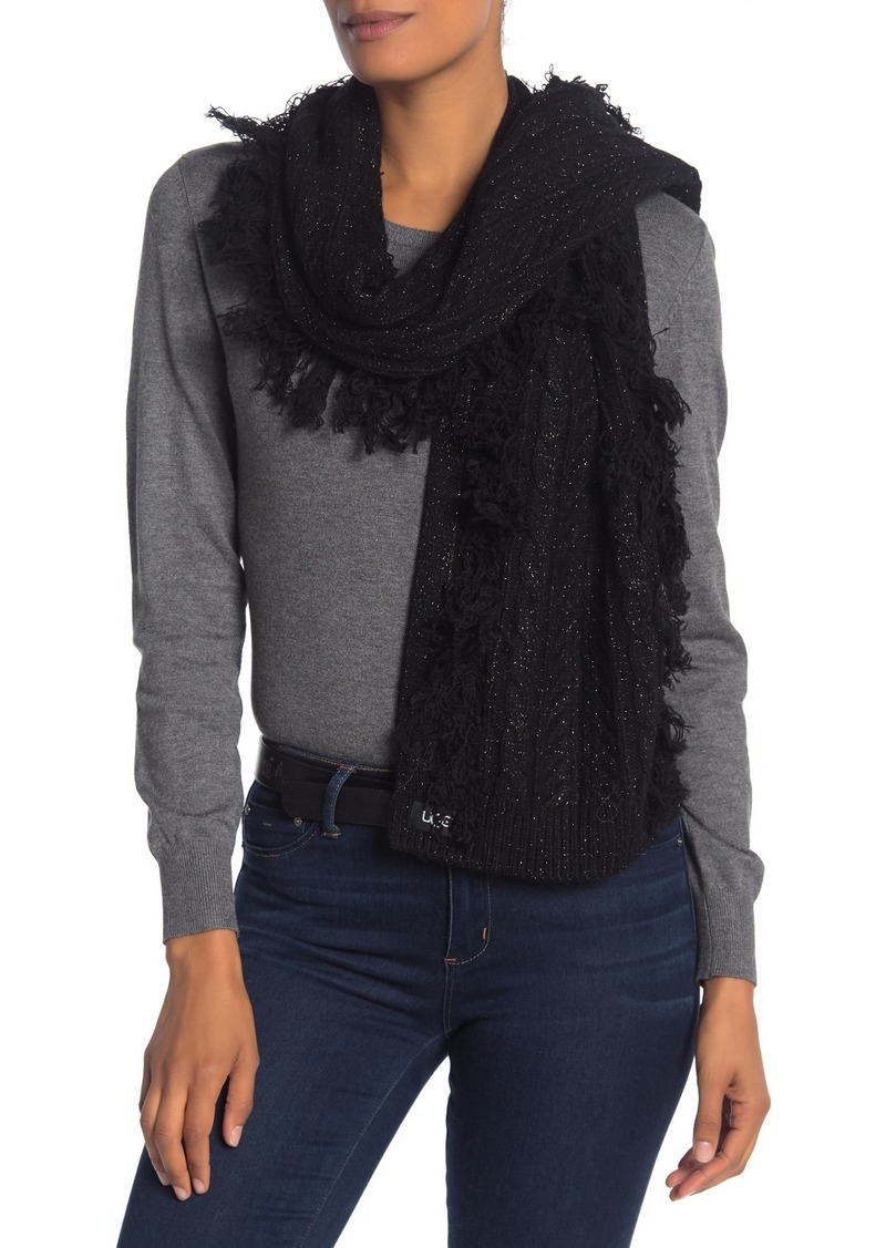 UGG Cable Knit Fringe Trim Scarf