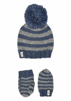 UGG Chunky Stripe Knit Hat and Mitten Set (Toddler/Little Kids)