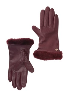 UGG Classic Leather Genuine Shearling Trim Tech Gloves