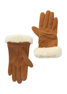 UGG Classic Suede Tech Sporty Genuine Shearling Cuff Gloves