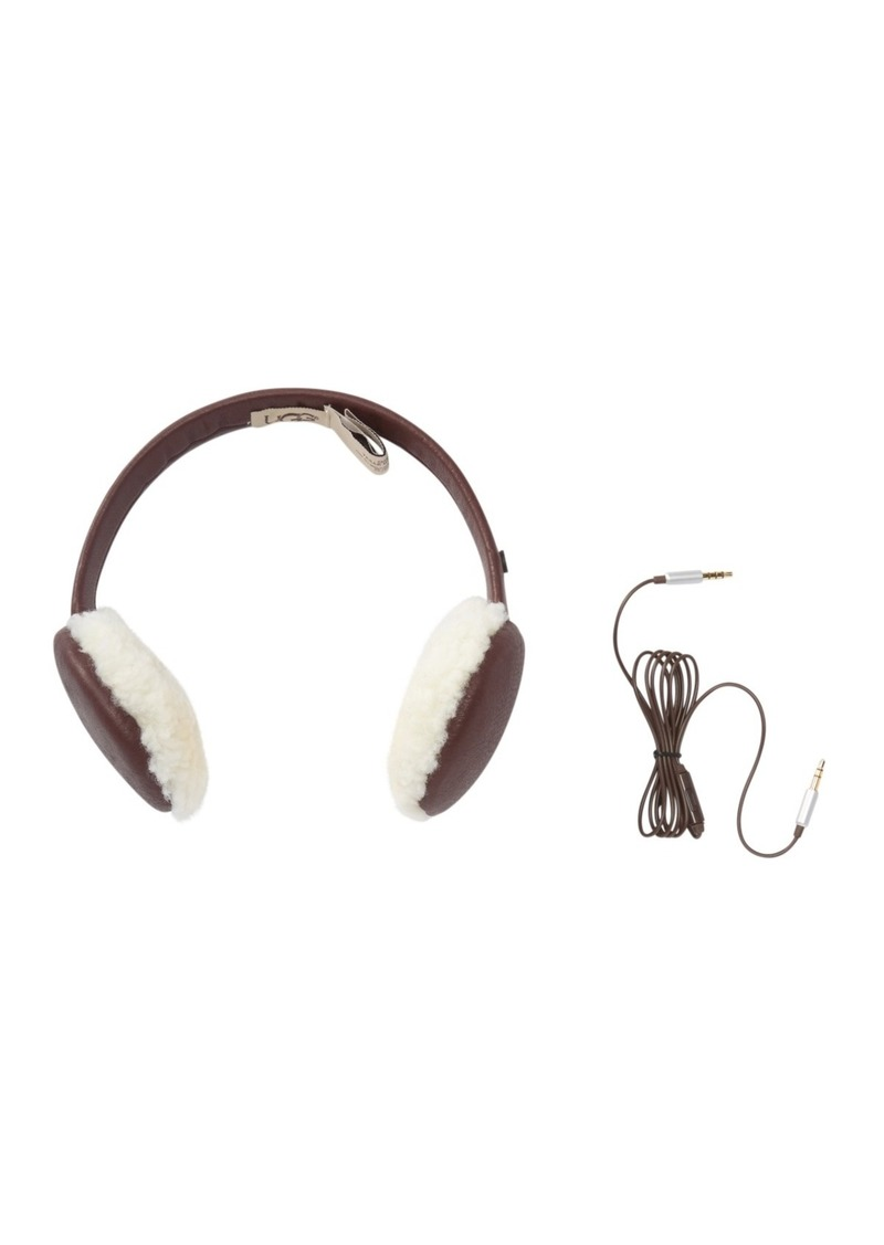 UGG Curly Genuine Sheepskin & Leather Wired Earmuffs