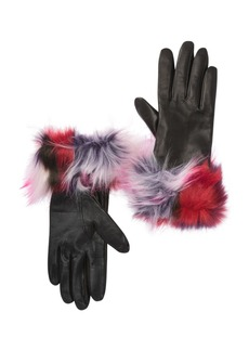 UGG Faux Fur Cuff Leather Patchwork Gloves