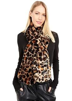 UGG Faux Fur Leopard Print Pull Through Scarf