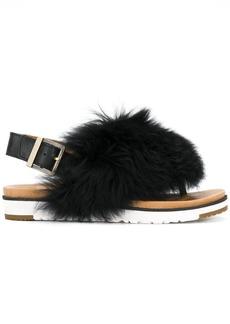 UGG fur appliqué sandals