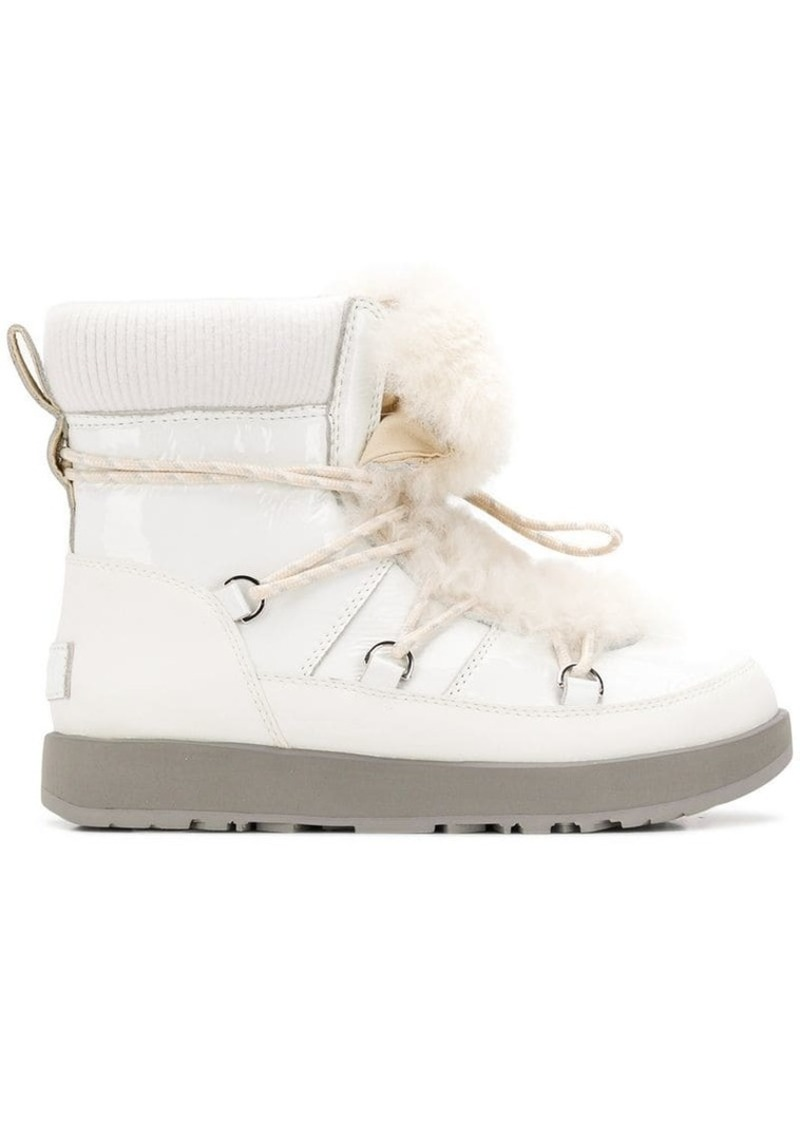 UGG fur lace-up boots