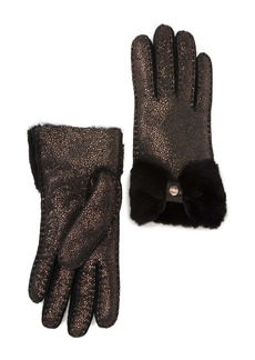 UGG Genuine Dyed Shearling Bow Shorty Gloves