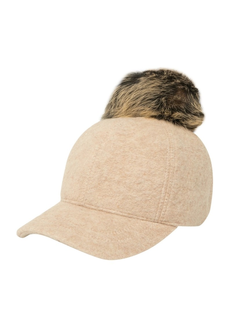 UGG Genuine Shearling Pompom Baseball Hat