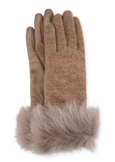UGG Knit & Leather Gloves w/ Fur Cuffs