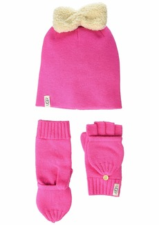 UGG Knit Hat with Bow and Flip Mitt Gift Set (Toddler/Little Kids)