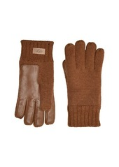 UGG Knit Tech Leather Palm Gloves with Sherpa Lining