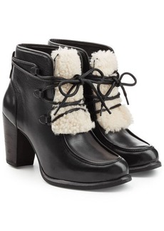 UGG Leather Ankle Boots with Shearling