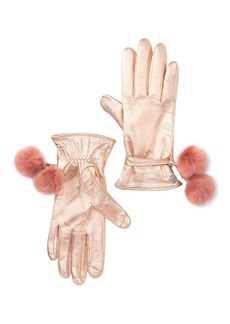 UGG Leather Genuine Shearling Pompom Gloves